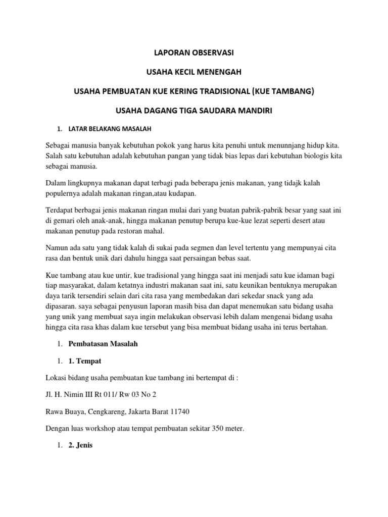 Laporan Observasi Usaha Kecil Menengah Usaha Pembuatan Kue Kering Tradisional Kue Tambang Usaha Dagang Tiga Saudara Mandiri