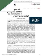 López y Rivas, G. Tiempos de Peligro. Estado d Excepción y Guerra Mundial, 6-9-19