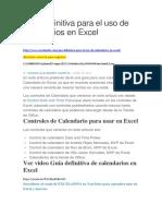 Guía Definitiva Para El Uso de Calendarios en Excel