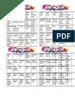 Bingo Cards Excretory System