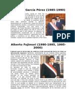 ULTIMOS PRESIDENTES DEL PERÚ