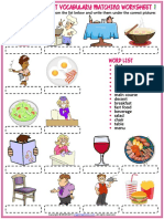 Restaurant Vocabulary Esl Matching Exercise Worksheets for Kids