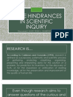 Report Some Hindrances in Scientific Inquiry