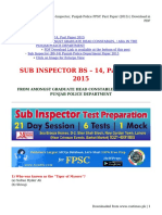 Sub Inspector, Punjab Police PPSC Past Paper (2015) - Download in PDF