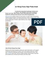 Cara Mengatasi Alergi Susu Sapi Pada Anak