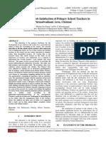 A Study on the Job Satisfaction of Primary School Teachers in Purasaiwakkam Area, Chennai