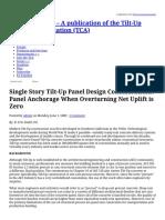 Single Story Tilt-Up Panel Design Considerations_ Panel Anchorage When Overturning Net Uplift is Zero _ TILT-UP TODAY – a Publication of the Tilt-Up Concrete Association (TCA)