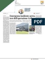 Emergenza incidente aereo, test dell'Operazione Grifone - Il Messaggero del 7 settembre 2019
