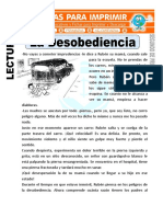Ficha de La Desobediencia Para Segundo de Primaria