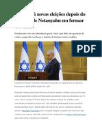 Israel Fará Novas Eleições Em 17 Setembro 2019 Depois Do Fracasso de Netanyahu