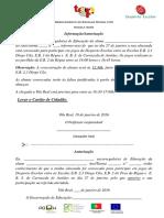 Autorização EE Para Jogos Futsal Fem