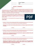 Critical Thinking Test Questionnaire