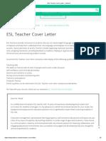 ESL Teacher Cover Letter - JobHero