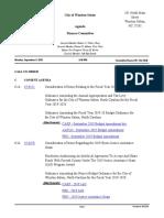 Finance Committee Agenda, 09/19/2019