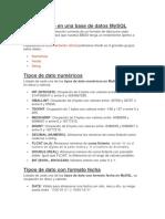 Tipos de Dato en Una Base de Datos MySQL