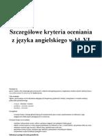 Szczegółowe Kryteria Oceniania z Jezyka Angielskiego w Kl. VI