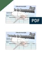 Ficha de Inscrição Torneio de Basquetebol