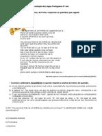 Avaliação de Língua Portuguesa 9º Ano