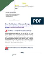 Load Combinations of Concrete Design - CivilEngineeringBible.com