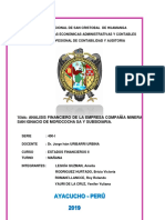 Informe Financiero Gran Compañia San Ignacio Morococha y Subsidiaria