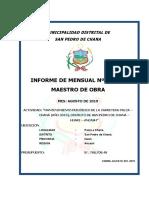 Informe Maestro de Obra Carret a Chana
