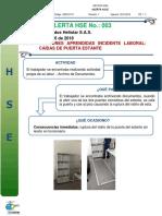 ALERTA HSE No. 003 Lecciones Aprendidas Caida de Puerta Estante