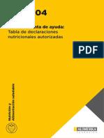 Tabla de Declaraciones Nutricionales Autorizadas