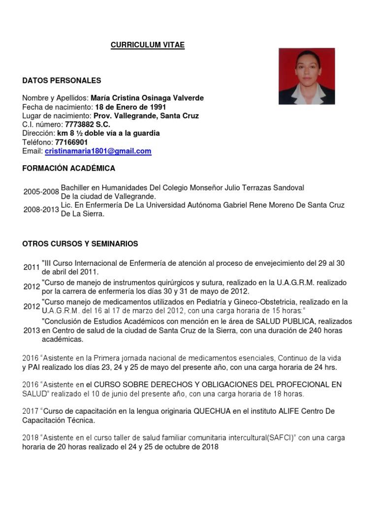 Curriculum Cristina Enfermería Hospital