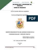 """Trabajo de Grado """"Gestion de Riego Molleni Tarvita-Bolivia"""""""