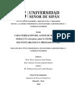 CARACTERIZACIÓN DEL ACEITE DE SEMILLA DE MARACUYÁ (Passiflora edulis S.) EXTRAIDO CON SOLVENTE ORGÁNICO Y PRENSADO EN FRÍO