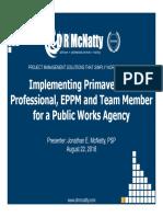 Implementing Primavera P6 in Public Dept