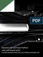 Dynamics365 PowerPlatform ReleaseNotes April19