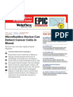 Microfluidics Device Can Detect Cancer Cells in Blood - Medical Design Briefs