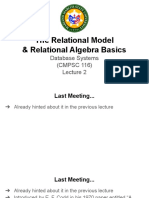 Relational Model Relational Algebra Basics