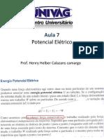 F3 Aula 6 Conceito de Potencial Elétrico - Aula Teórica Resumida