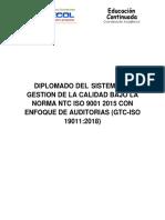 Diplomado Del Sistema de Gestion de La Calidad Bajo La Norma Ntc Iso 9001 2015 Con Enfoque de Auditorias (Gtc-Iso 190112018)