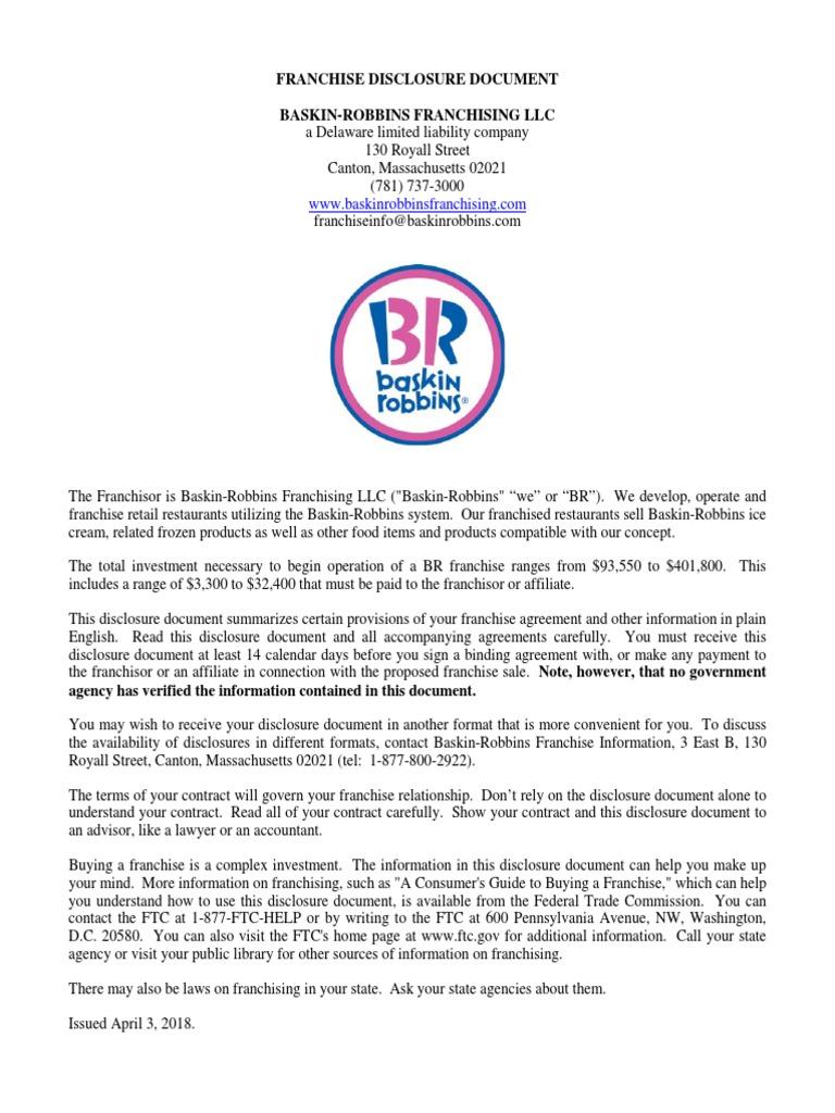 Baskin Robbins Franchise Agreement Franchising Securitization