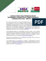 Convocatoria Chile Mexico 2009