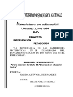 Proyecto d Ematematica Para Prescolar