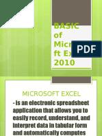 Lesson 2 Microsoft EXCEL 2010