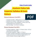 JK Police Sub Inspector Syllabus Exam Pattern