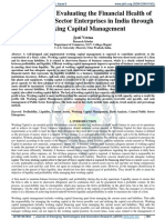 Analyzing and Evaluating the Financial Health of Central Public Sector Enterprises in India through Working Capital Management