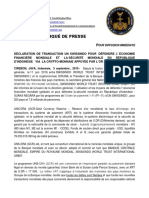 2019-09-03 FRENCH PRESS RELEASE - UN SWISSINDO DECLARATION TRANSACTION TO DEFEND WORLD FINANCIAL ECONOMY AND WORLD SECURITY IN THE REPUBLIC OF INDONESIA VIA UNS-DRA GOLD BACKED CRYPTOCURRENCY
