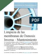 Limpieza de Las Membranas de Ósmosis Inversa