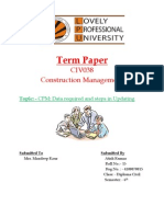 CPM Data Required and Steps in Updating -15 Roll No. Construction Management TP