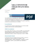 PASOS PARA CONSTITUIR ENTIDAD FINANCIERA EN PERU
