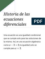 Historia de Las Ecuaciones Diferenciales - Wikipedia, La Enciclopedia Libre