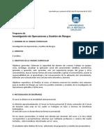 Programa de Investigacion Operativa y Gestion de Riesgos
