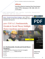 120 TOP a.C. Fundamentals, Circuits &Circuit Theory Objective Questions