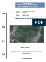Memoria Descriptiva - Via Dep. Md-100-Cira